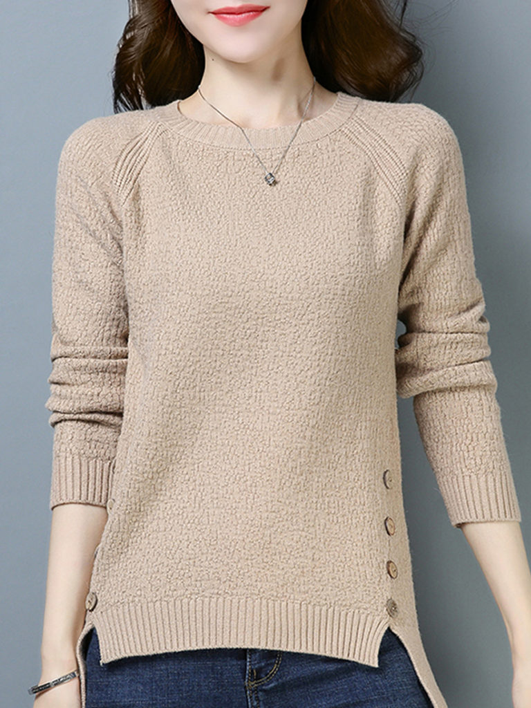 Round Neck Buttons Long Sleeve Knit Pullover