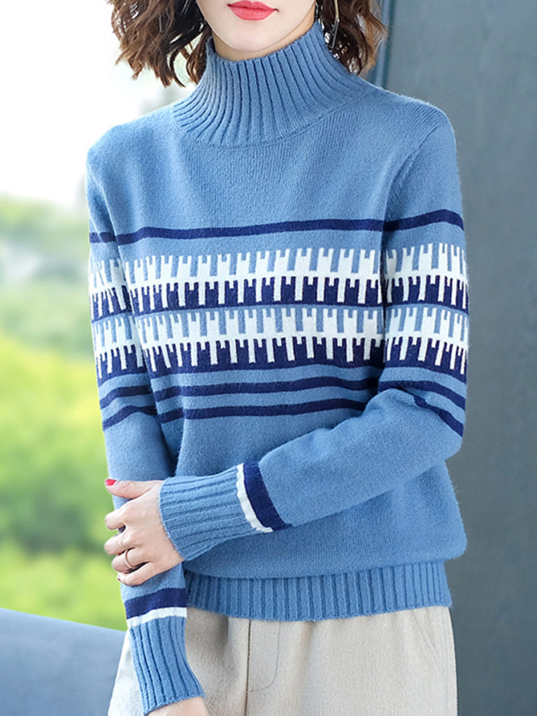 Short High Collar Elegant Long Sleeve Knit Pullover
