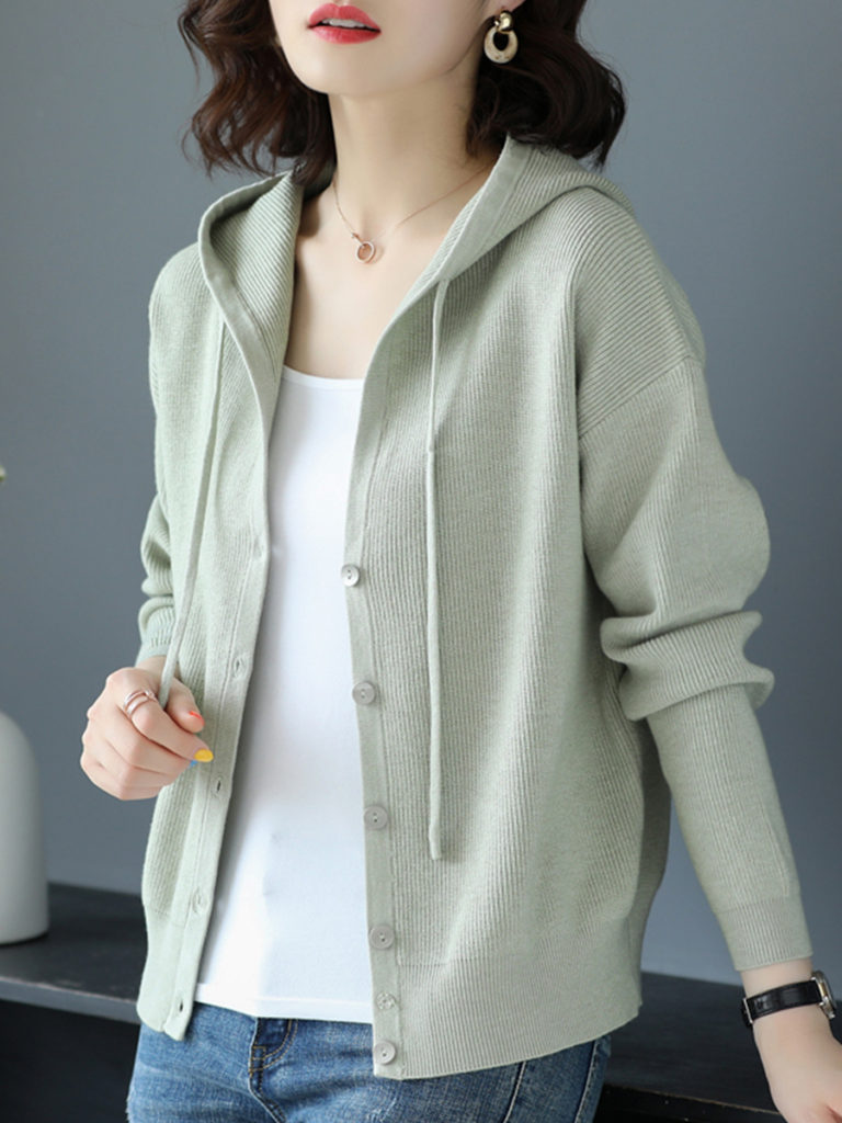 Hat Collar Casual Long Sleeve Knit Cardigan