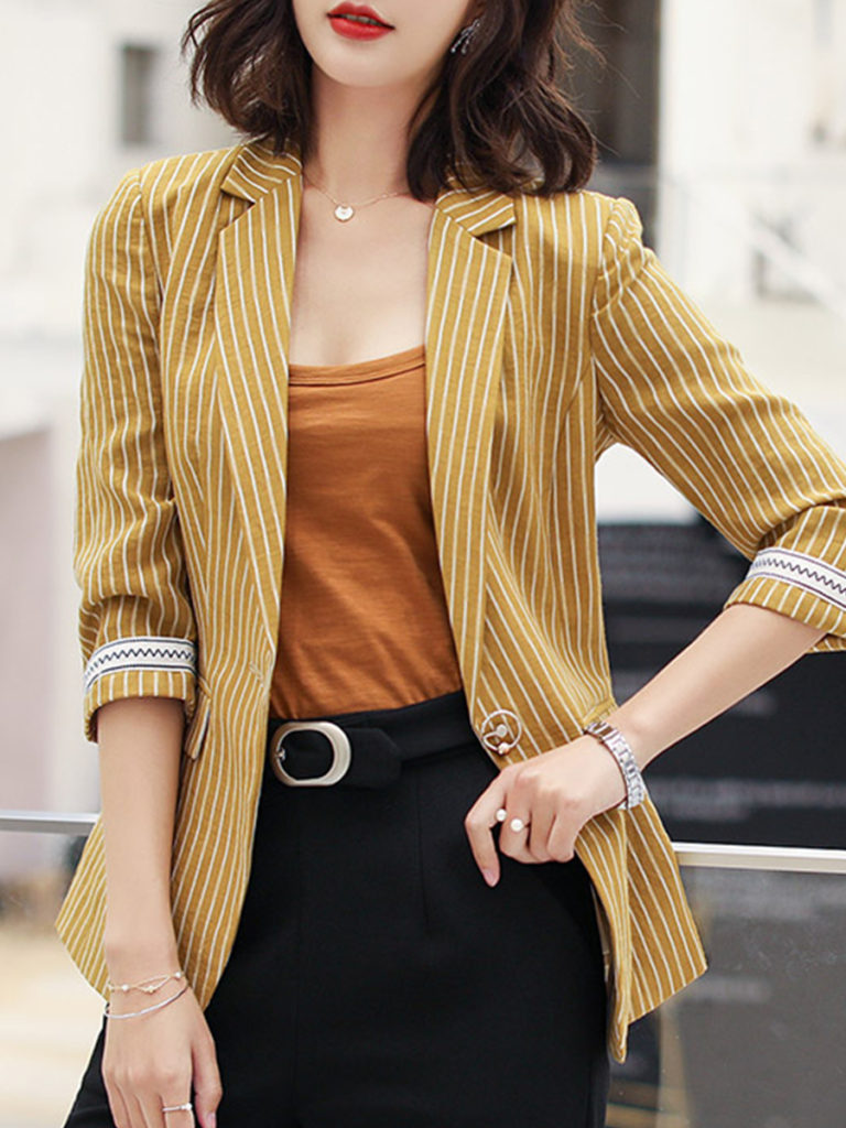 Casual Striped Notch Lapel Blazer