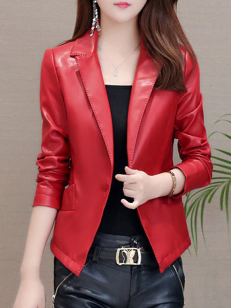 Stylish Lapel Collar Slim Leather Jacket