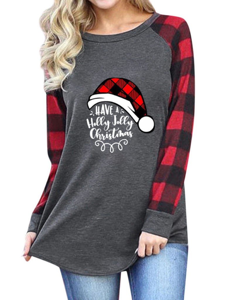 Fashion ladies plaid Christmas printed long sleeve sweatshirt