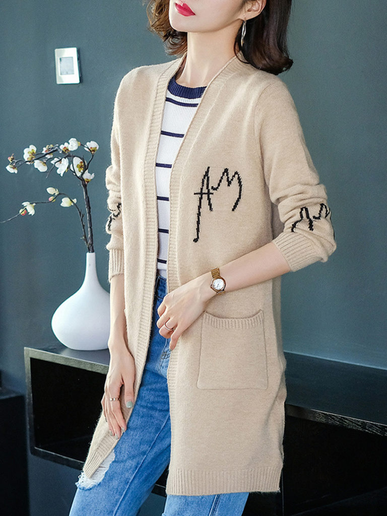 Long Letters Long Sleeve Knit Cardigan