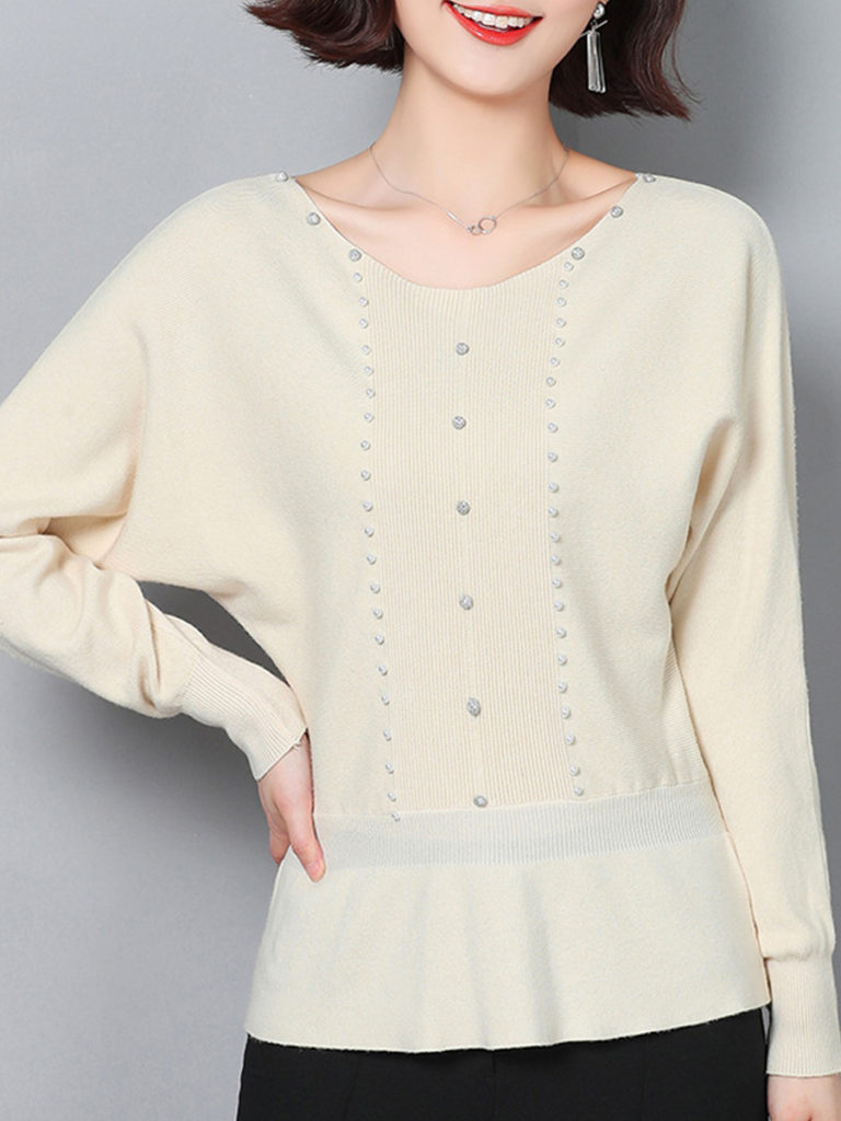 Round Neck Patchwork Beading Knit Pullover
