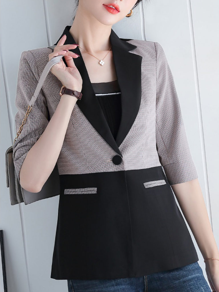 Temperament Colorblock Fold Collar Blazer