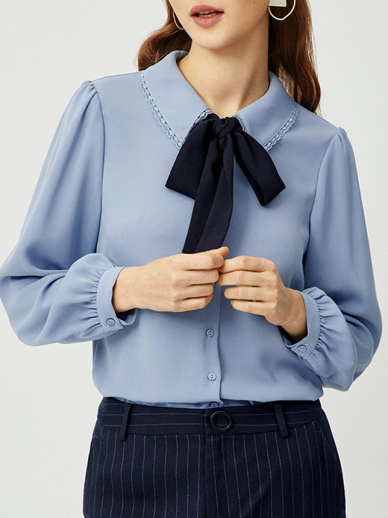 Women's Solid Color Long Sleeve Blouse