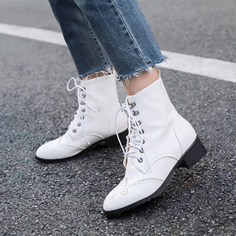 Fashion Women Lace-up Rivet Mid Heel Boots