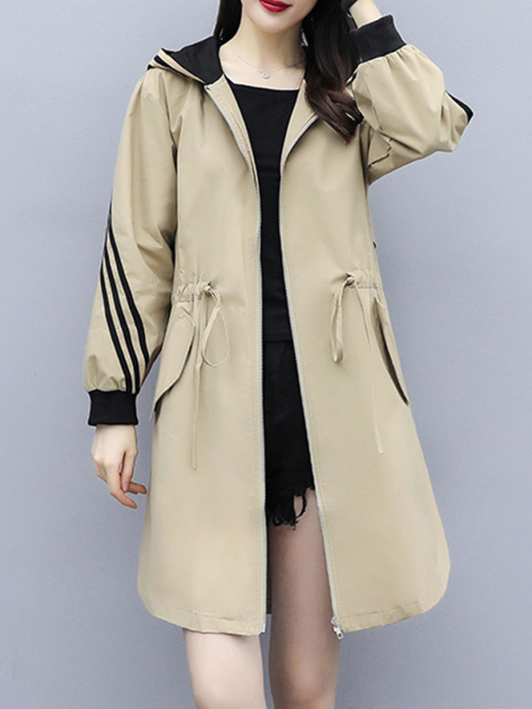 Fashion Loose Hooded Trench Coat