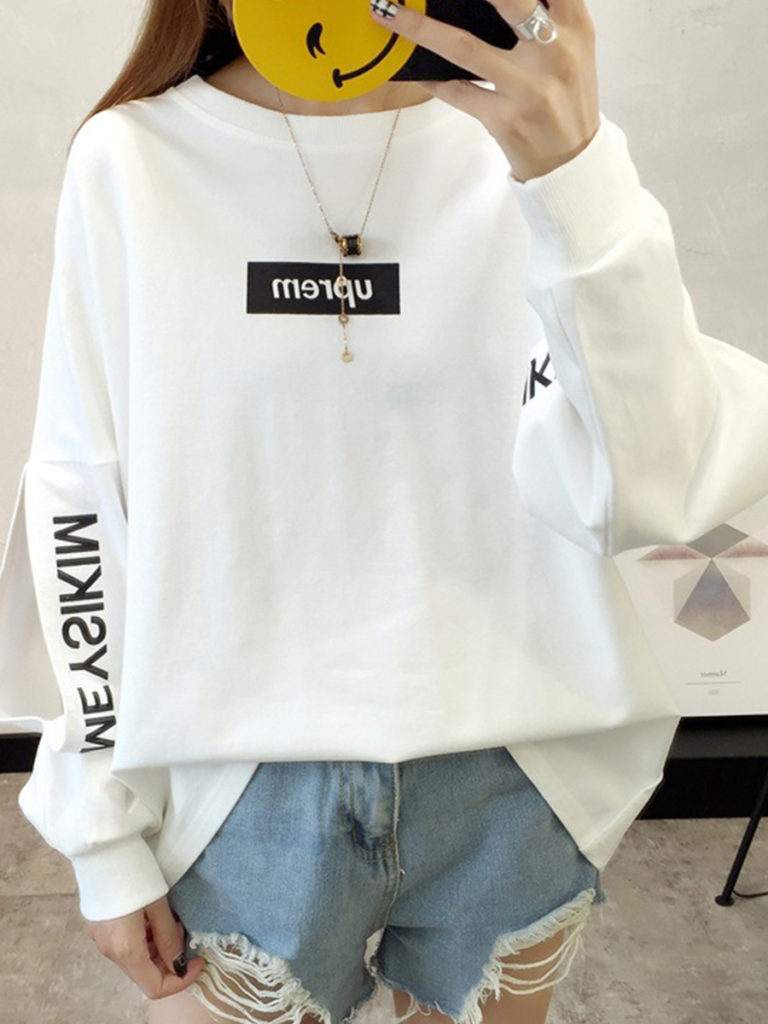 Loose thick round neck sweatshirt