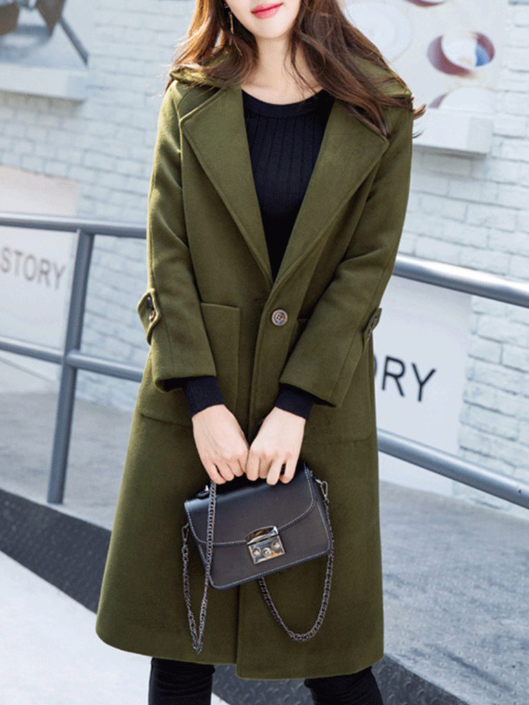 Temperament mid-length fold-over collar coat