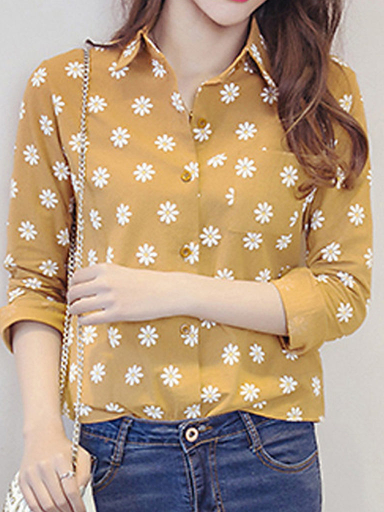 Turn Down Collar Floral Long Sleeve Blouse