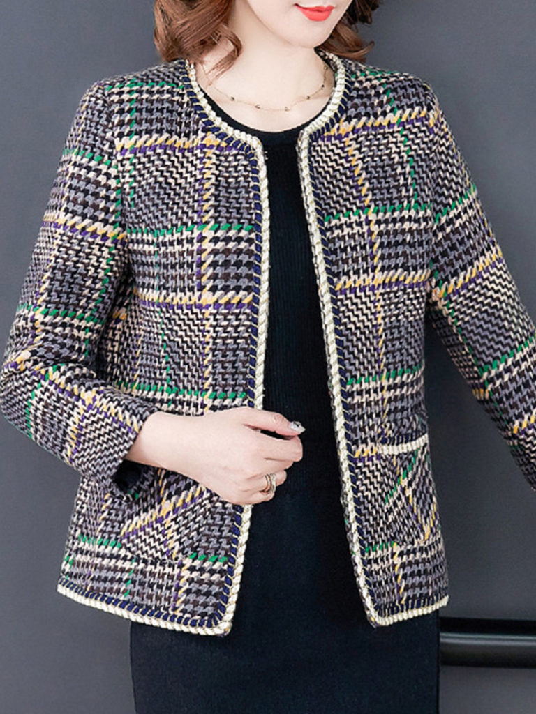 Fashion Round Neck Plaid Coat