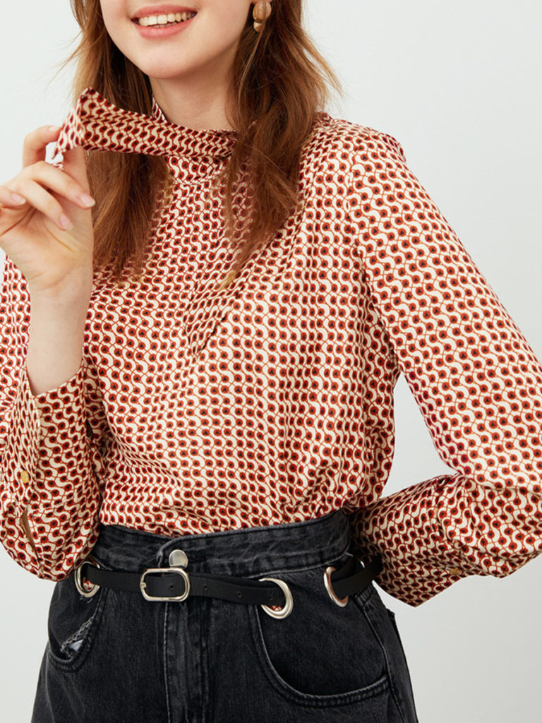Print Long Sleeve Blouse