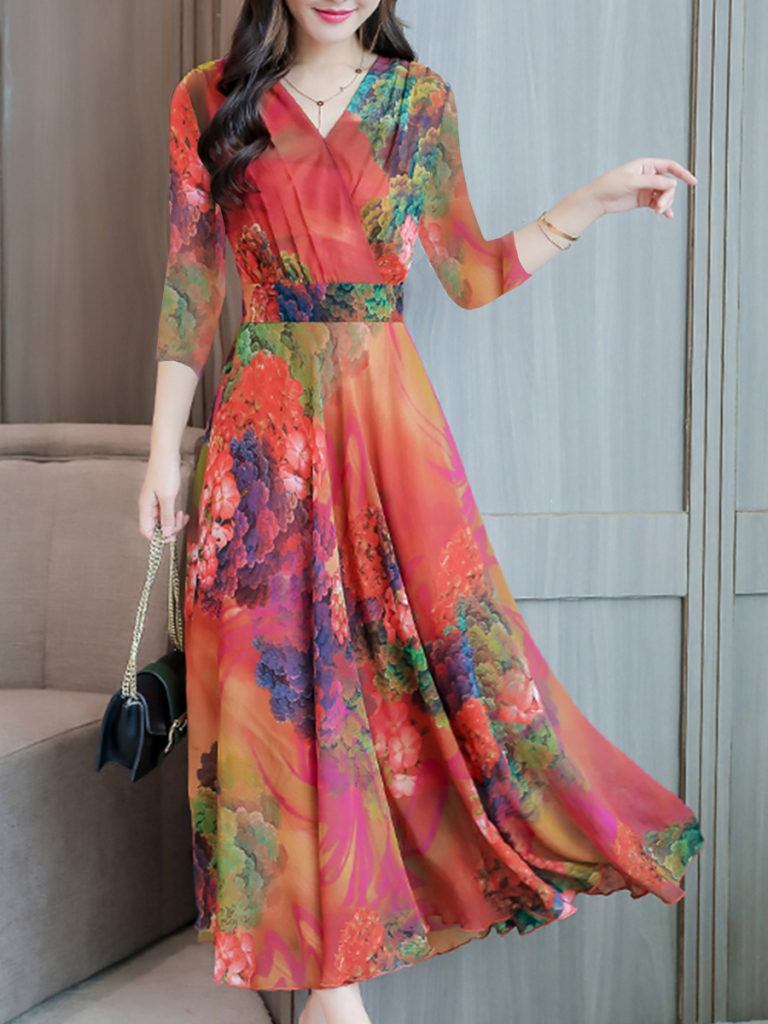 Abstract Style Print Dress Maxi Dresses