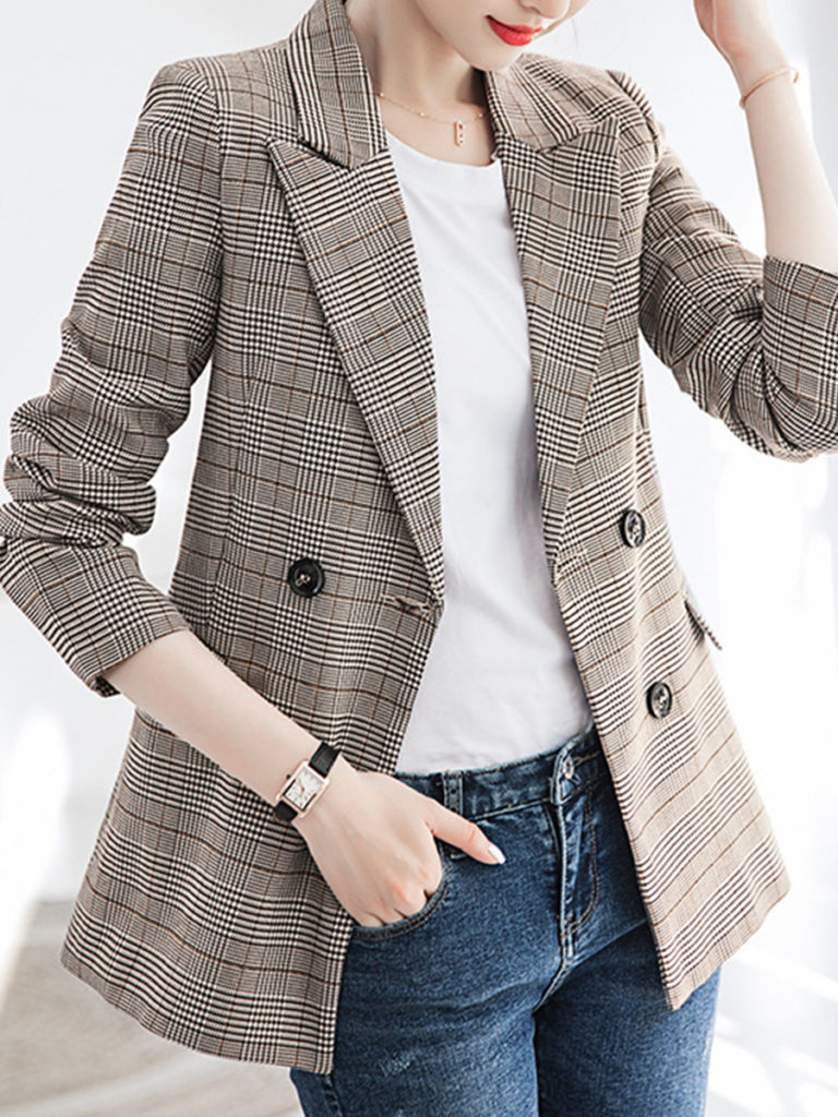 Temperament Mid-length Plaid Blazer