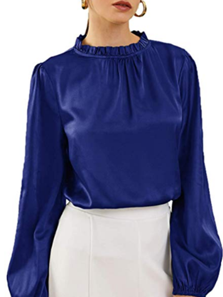 Round Neck Frilled Long Sleeve Blouse