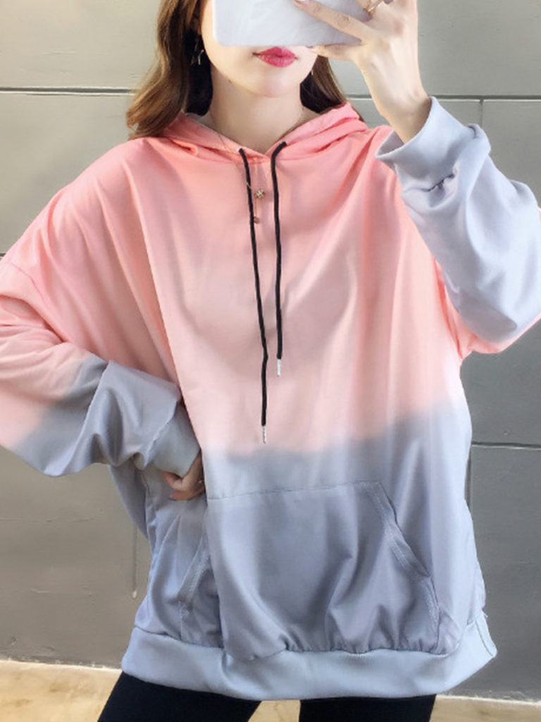Women's Stylish Gradient Print Hoodie