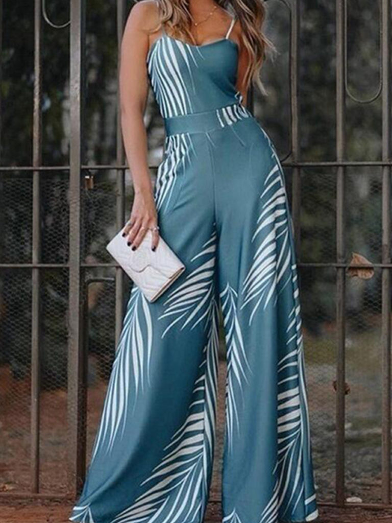 Fashion printed high waist jumpsuit flared pants