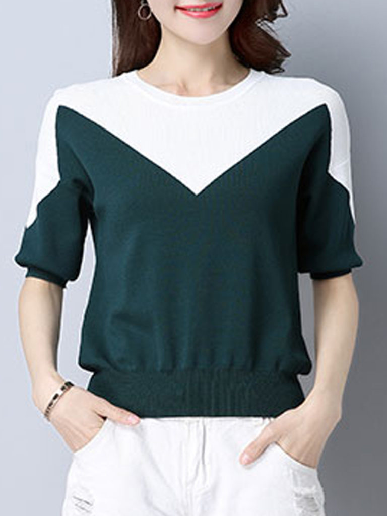 Round Neck Color Block Short Sleeve c