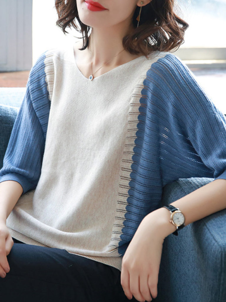 Round Neck Color Block Batwing Sleeve Knit Pullover