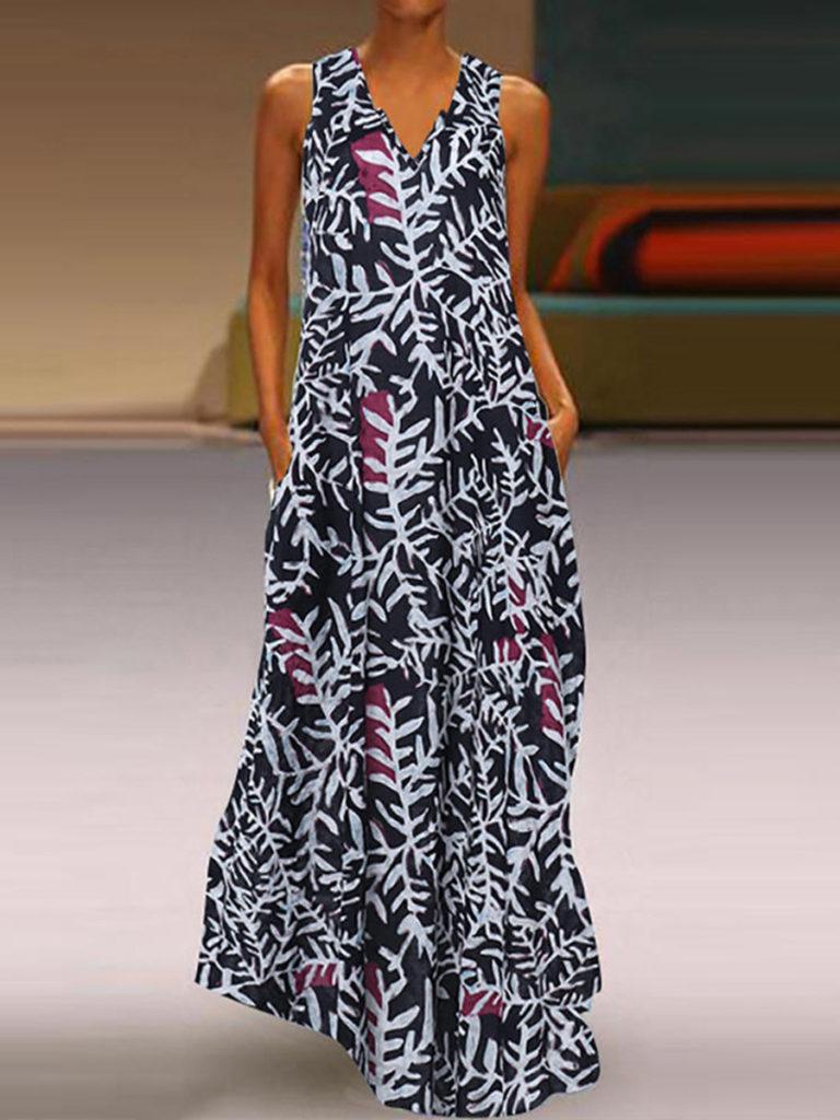 V- Neck Patch Pocket Floral Printed Maxi Dress