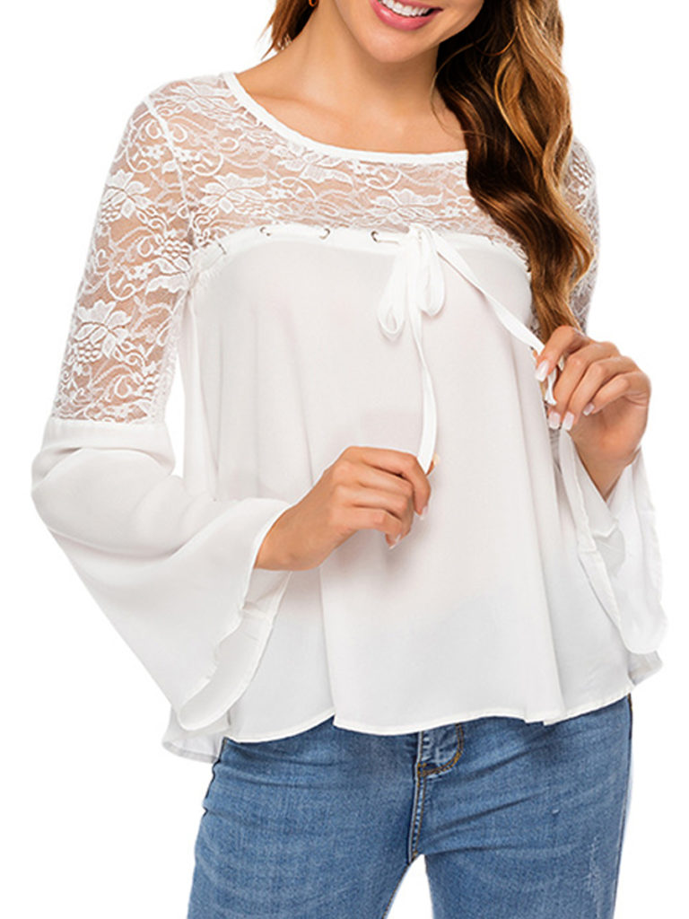 Round Neck Patchwork Lace Long Sleeve Blouse