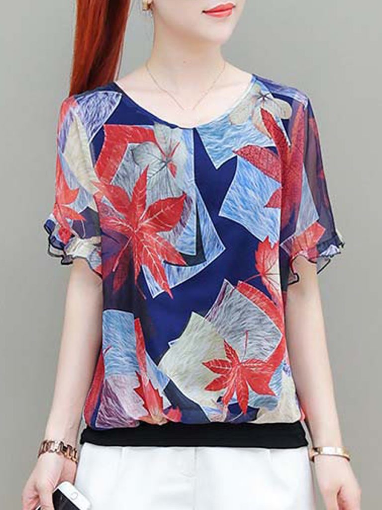 Round Neck Print Short Sleeve Blouse