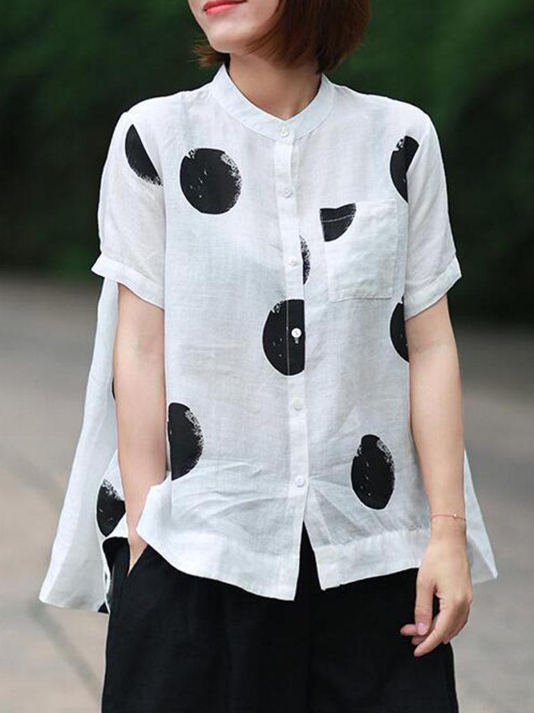 Band Collar Dot Short Sleeve Linen Blouse
