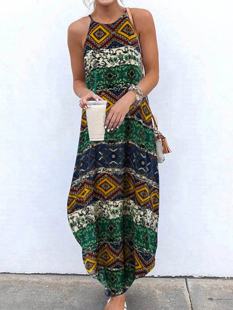 Patch Pocket Plain Maxi Dress