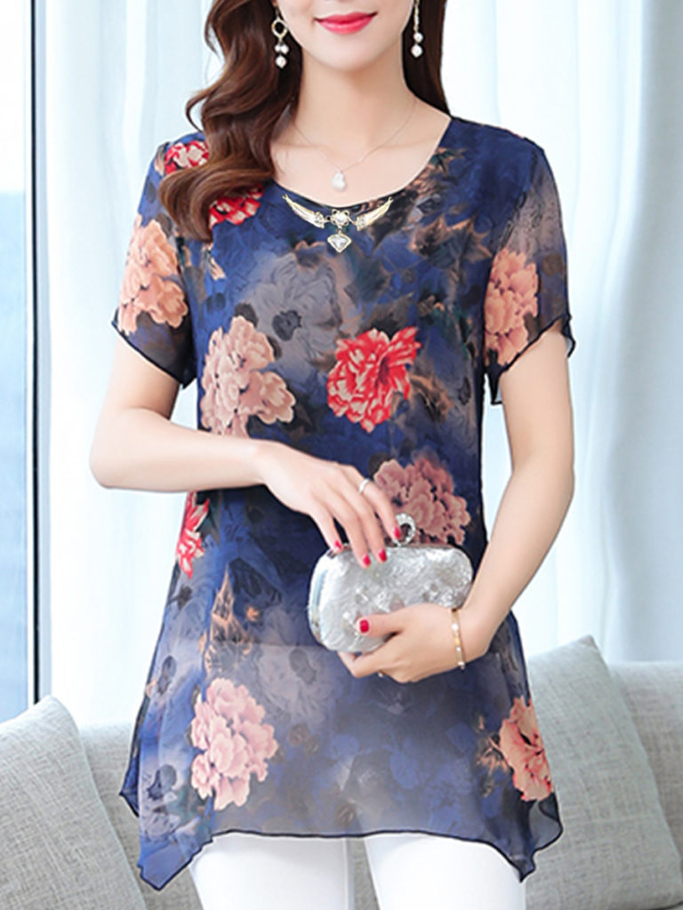 Round Neck Printed Chiffon Short Sleeve Blouse
