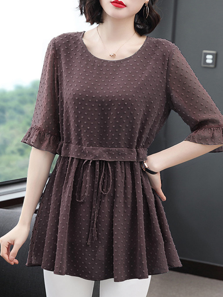 Round Neck Elastic Waist Short Sleeve Blouse