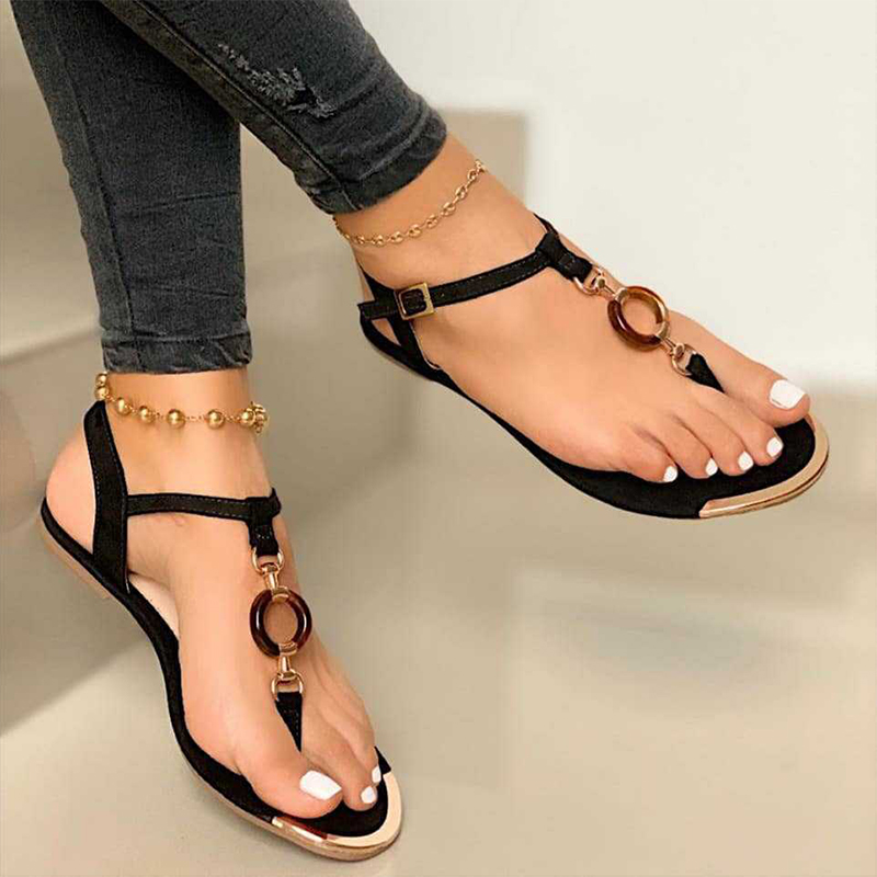 Women's flat toe buckle sandals