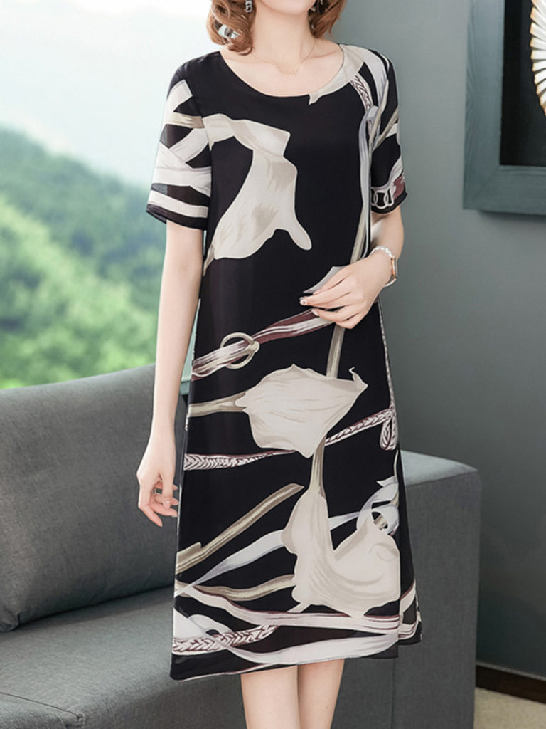 Fashionable casual printed dress with loose and elegant geometric patterns