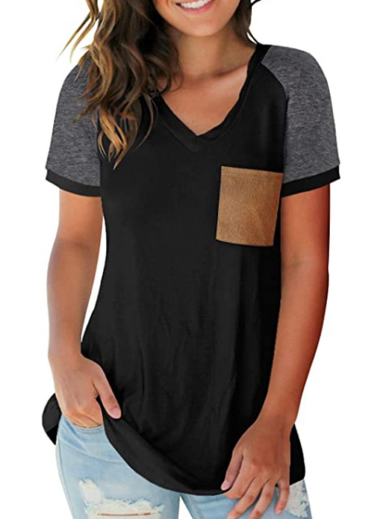 V Neck Color Block Short Sleeve T-shirt
