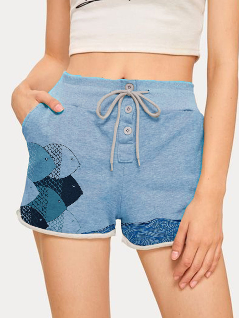 Fashion print lace-up shorts