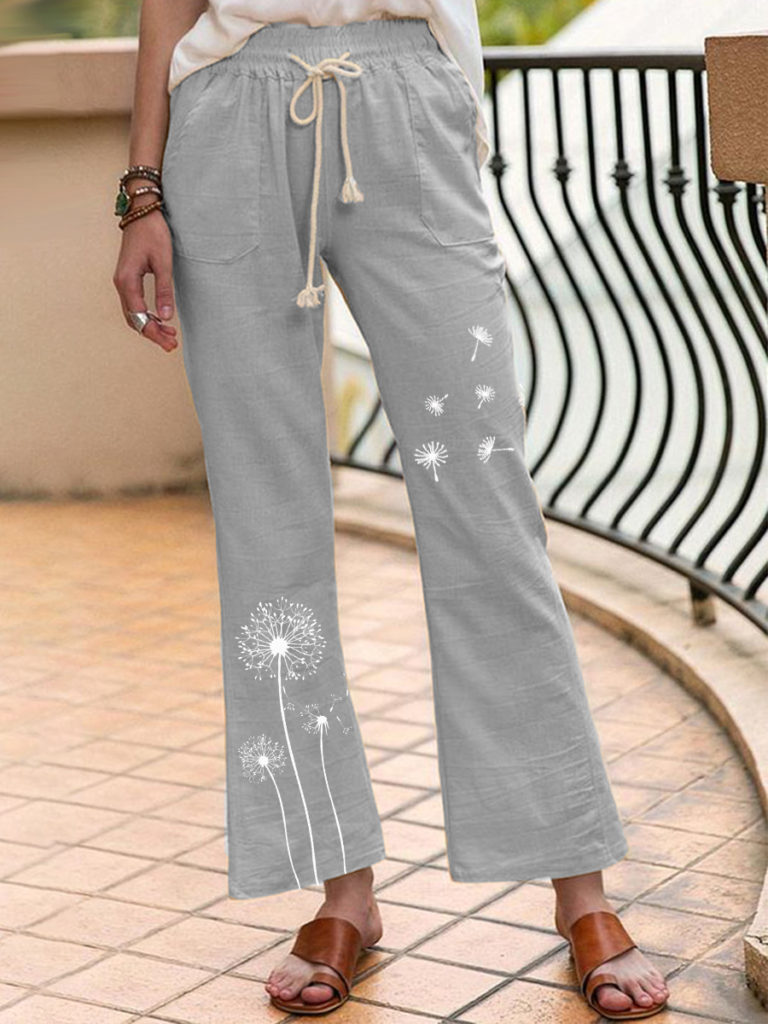 Casual linen printed trousers