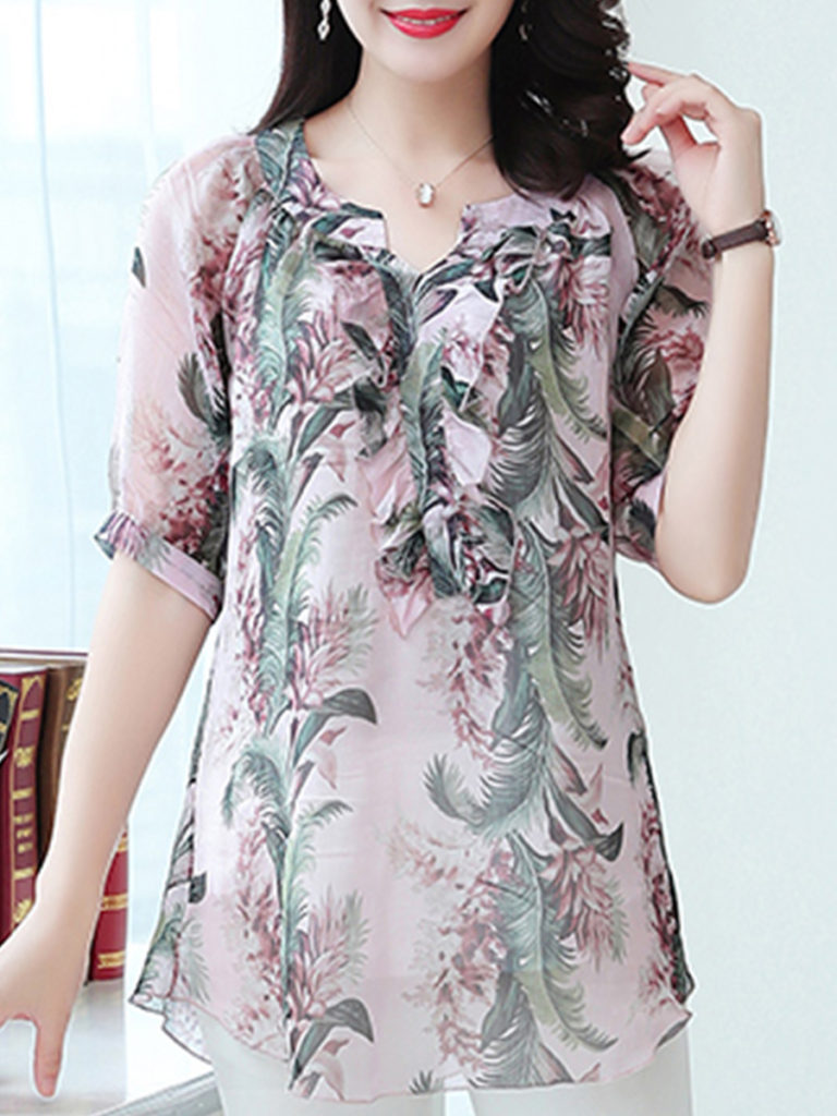 V-neck Printed Short-Sleeved Blouse