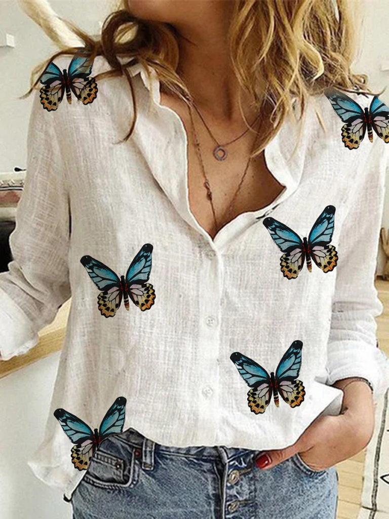 Turn Down Collar Butterfly Print Long Sleeve Blouse