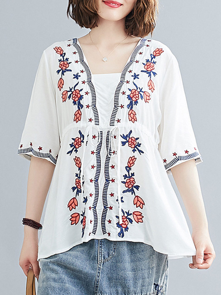 Square Collar Embroidery Short Sleeve Linen Blouse