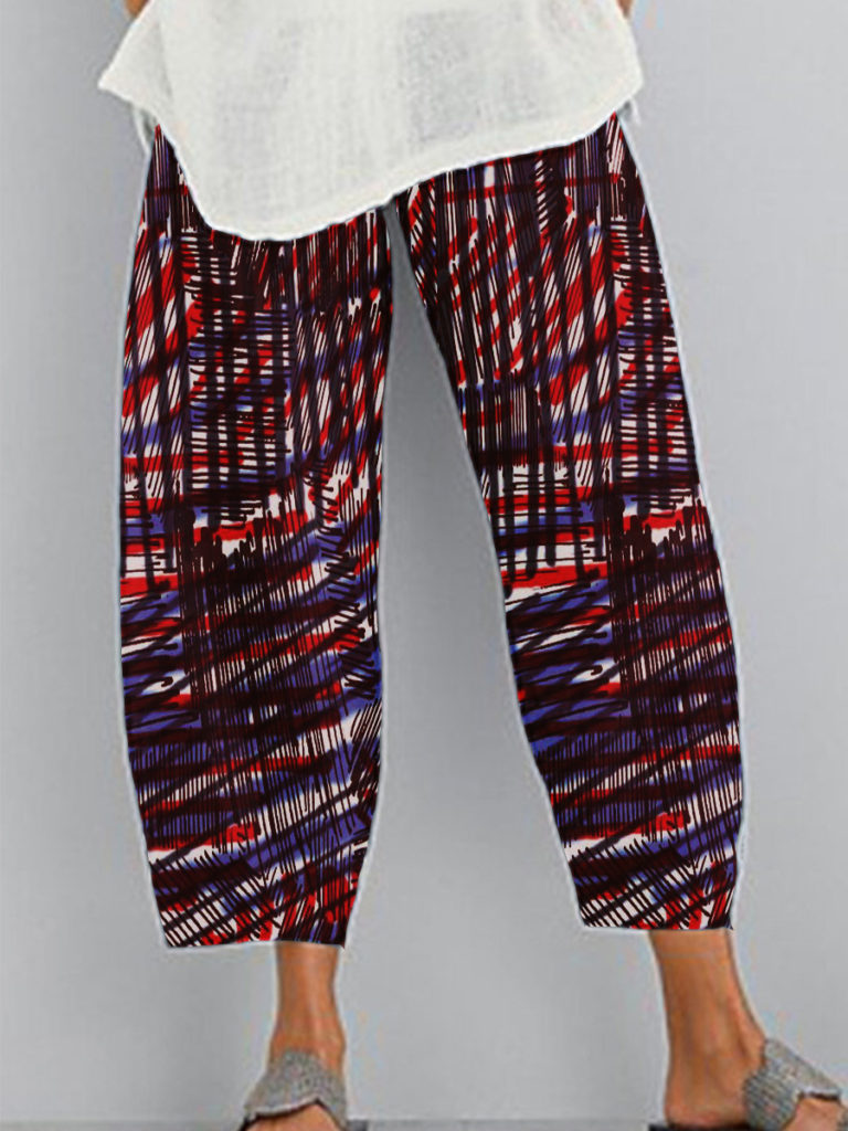 Casual printed wide-leg pants