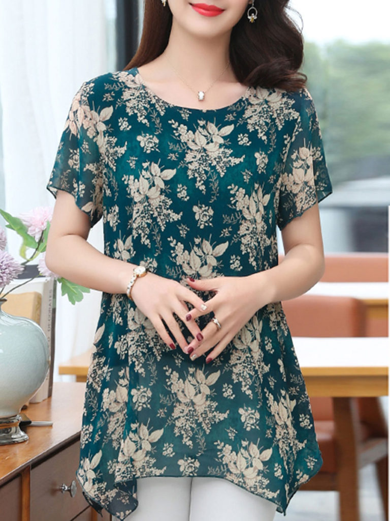 Round Neck Chiffon Printed Blouse