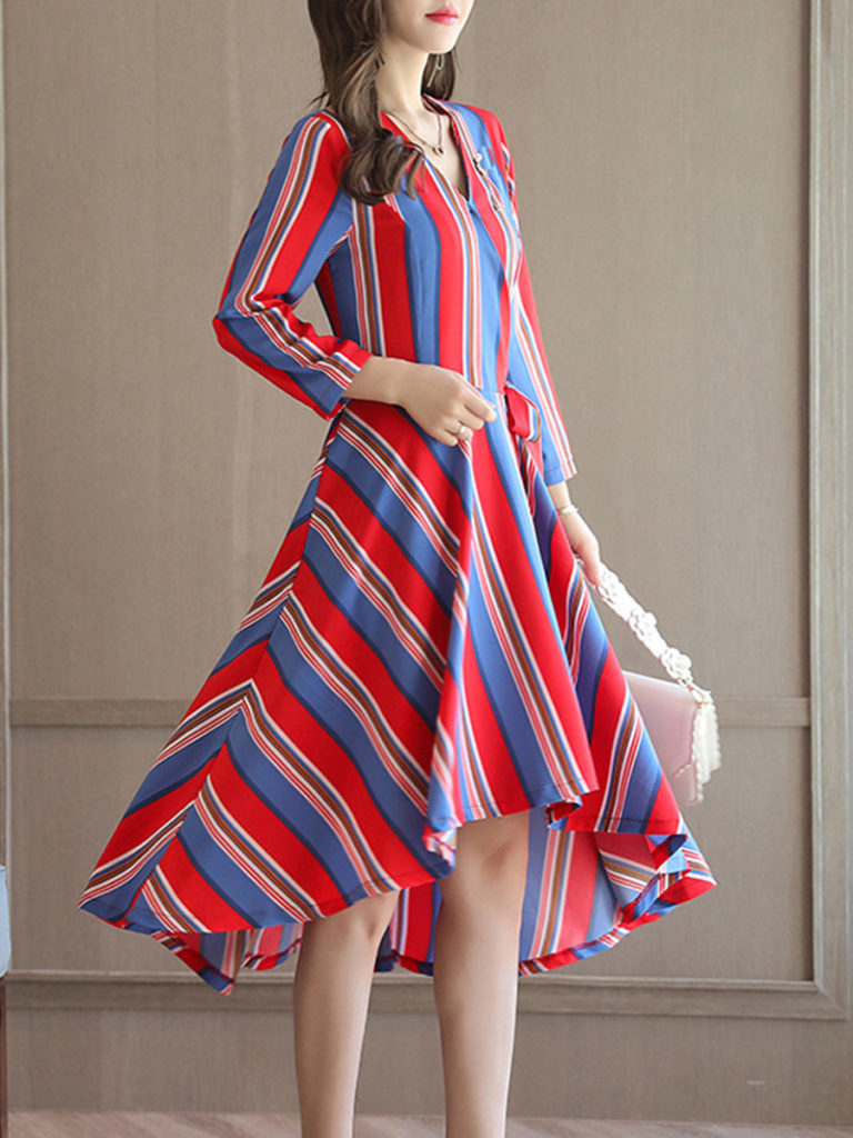 V-neck Long-sleeved Striped Midi Dress