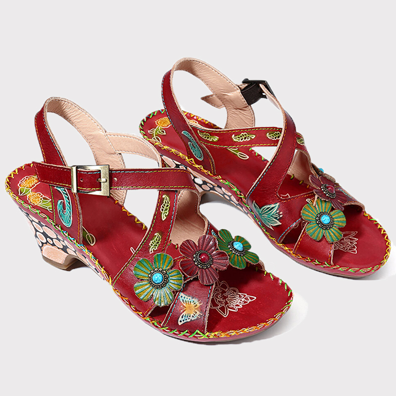 Women's bohemian flower sandals