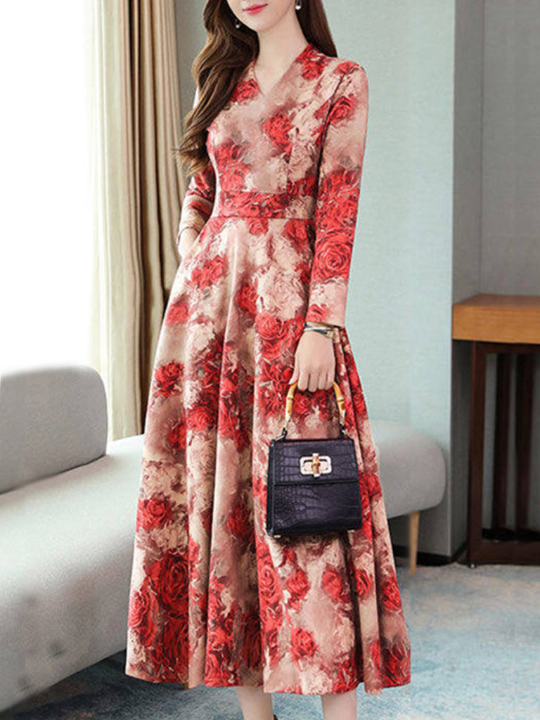V-neck Waist Mid-length Casual Floral A-line Skirt
