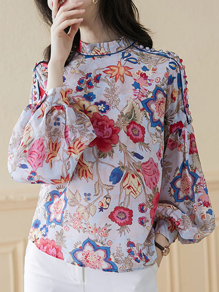Band Collar Floral Print Long Sleeve Blouse