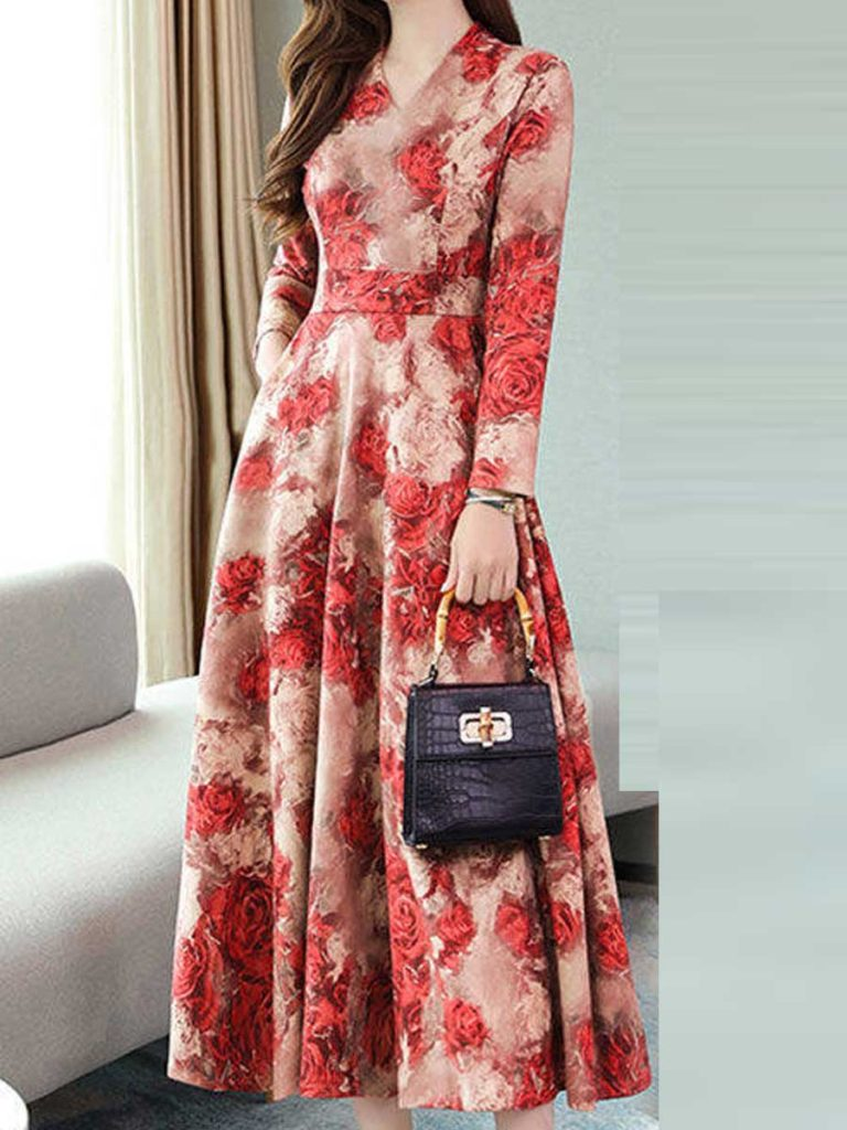 Waist Temperament Thin Print Dress