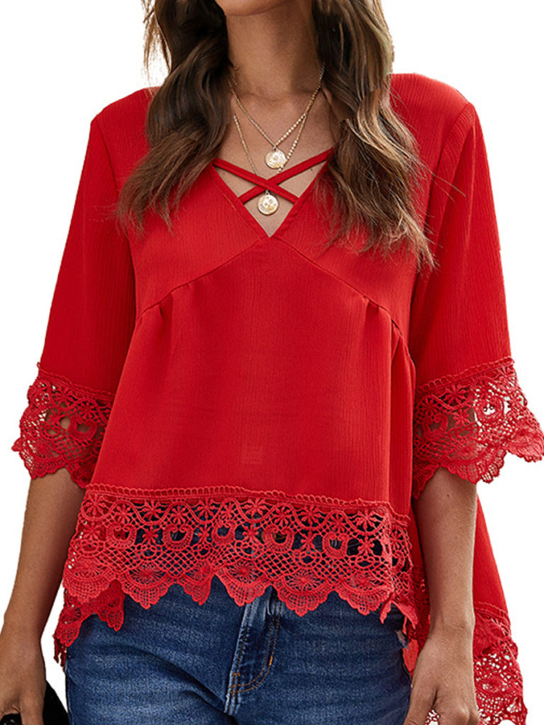 V Neck Lace Patchwork Bell Sleeve Blouse