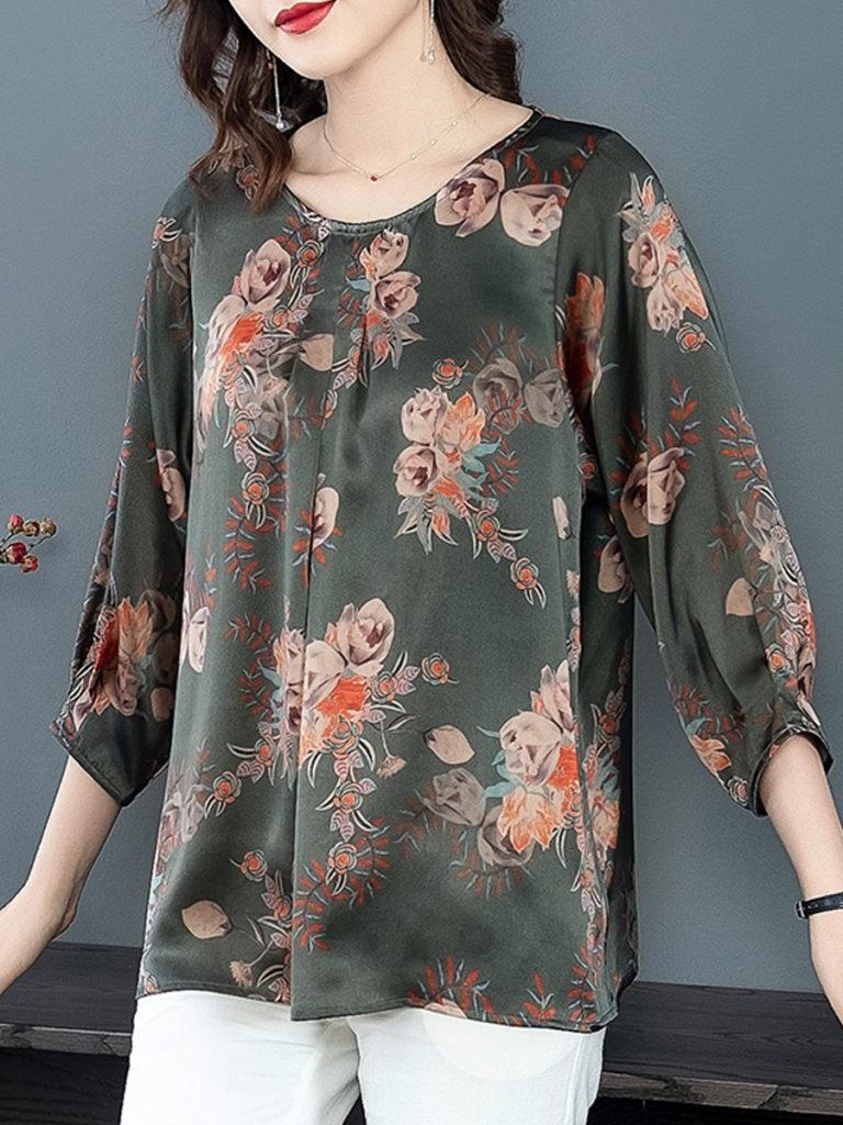 Round Neck Floral Print Half Sleeve Blouse