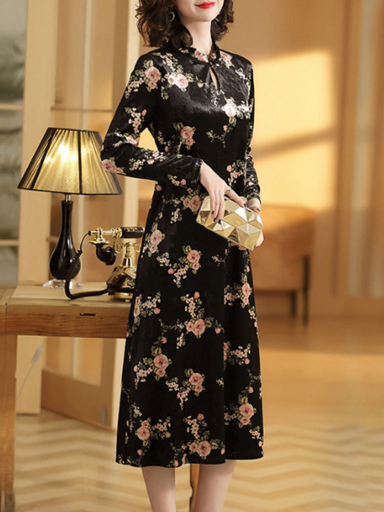 Thin Korean Long-sleeved Loose Print Dress