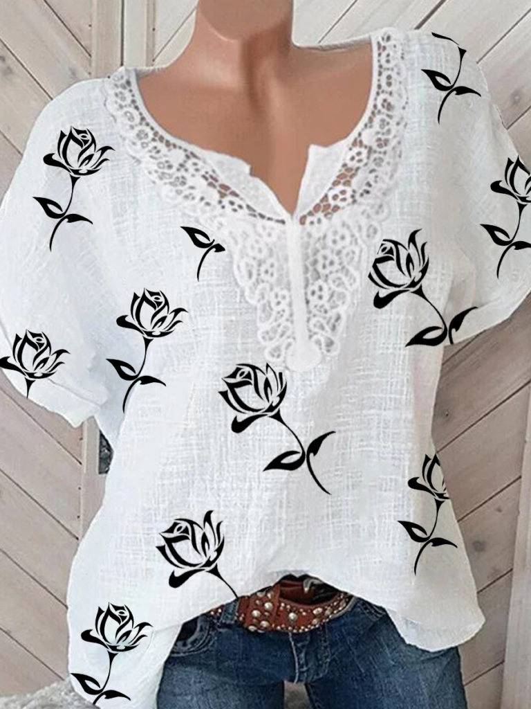 V Neck Patchwork Print Short Sleeve Blouse